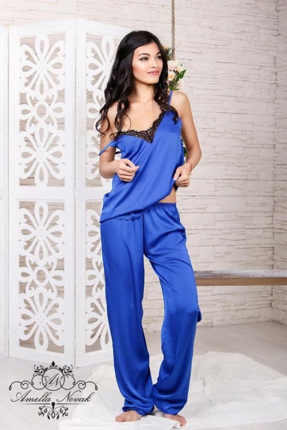 Пижама Amella Novak- шелковая майка с кружевом и брюки купить в ... 3adb216fc23ac