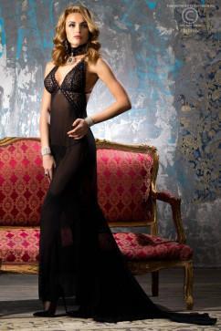 Прозрачное платье в пол со шлефом ChiliRose CR-4064