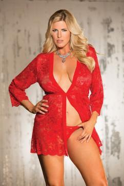 Ажурный халат-пеньюар в цветочек Shirley of Hollywood X31106