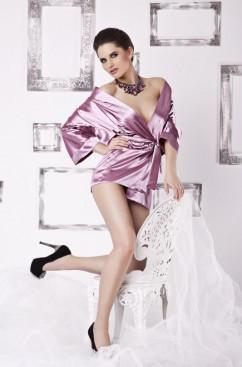 Классический атласный розовый халат