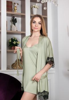 Шелковый халат с французским кружевом Amella Novak