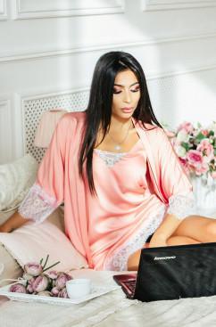 Шелковый халат с длинным кружевом Amella Novak Халат