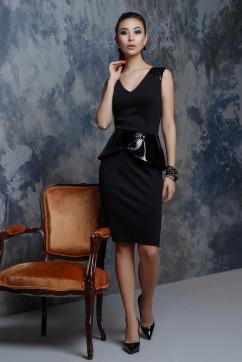 Роскошное черное платье с лаковой баской A-Dress 70740