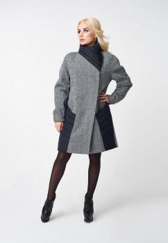 Пальто женское LuxLook стойка со вставкой
