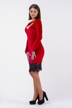 Короткое платье из бархата декорированное гипюром A-Dress 70243