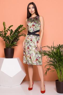 Велюровое платье с изящными разрезами на талии A-Dress 70841