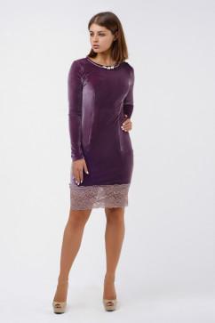Элегантное платье мини из бархата с жемчугом и гипюром A-Dress 70244