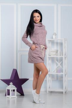 Стильное повседневное платье из розового меланжа A-Dress 70700