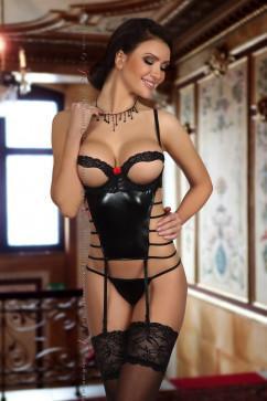 Оригинальный эротический комплект имитирующий кожу Beauty Night Angelina corset black