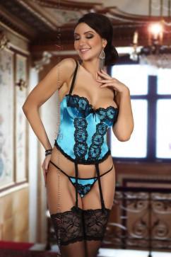 Ярко-голубой атласный комплект с корсетом Beauty Night Michele corset turquoise
