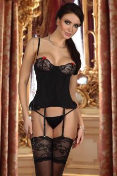 Чёрный эротический комплект с кружевными вставками Beauty Night Shirley corset black