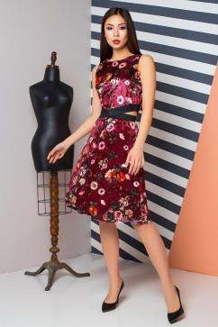 Оригинальное велюровое платье в цветы A-Dress 70840