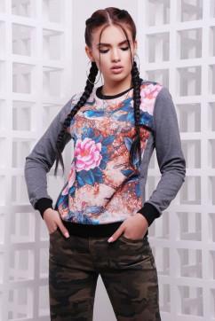 Свитшот с розовыми цветами FashionUp KF-1583