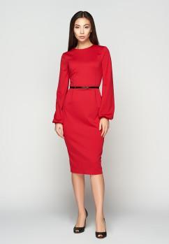 Алое платье с оригинальными рукавами A-Dress 707201
