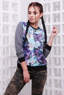 Свитшот Сиреневые цветы FashionUp KF-1588