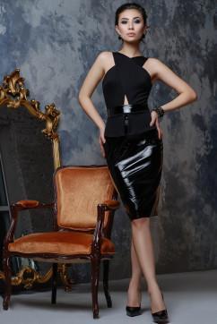 Эффектное черное платье из джерси и лака A-Dress 70780