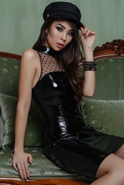 Экстравагантное черное лаковое платье A-Dress 70810