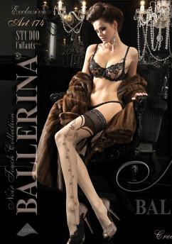 Бежевые чулки с черным узором Ballerina 174
