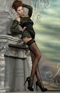 Фантазийные чулки с рисунком и кружевной резинкой Ballerina 218