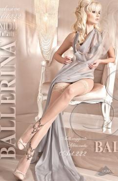 Бежевые чулки с романтичным черным узором Ballerina 222
