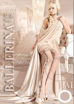 Бежевые чулки с кружевной резинкой на силиконе Ballerina 224