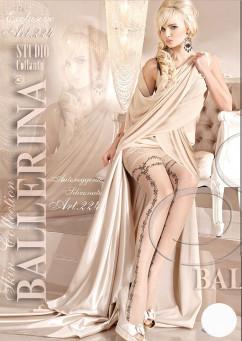 Белые чулки с кружевной резинкой на силиконе Ballerina 224
