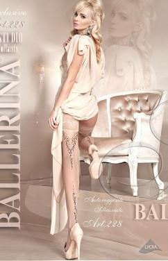 Бежевые винтажные чулки с черной стрелкой Ballerina 228