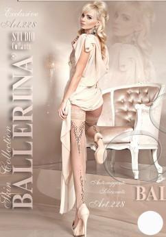 Белые винтажные чулки со стрелкой Ballerina 228