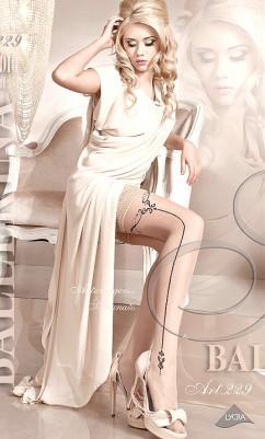 Бежевые чулки с черной стрелкой  на силиконе Ballerina 229