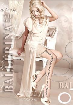 Фантазийные винтажные чулки с узором Ballerina 230 бежевые