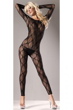 Эротичный бодистокинг Be wicked Long-sleeve Lace Body Stocking BWB09. цвет черный