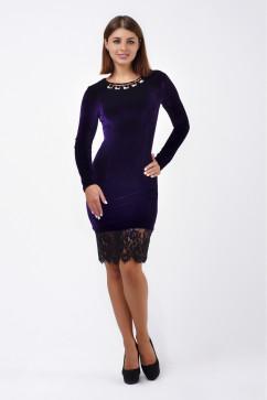 Платье-футляр с украшением и гипюром A-Dress 70245