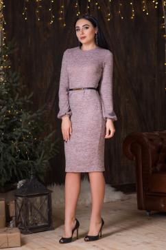 Нежно-розовое платье из меланжа с поясом A-Dress 70722