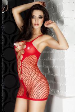Огненно-красное платье из сеточки Chilirose CR-3423