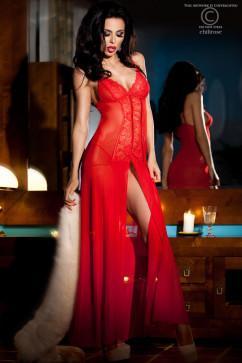 Ярко-красная сорочка-платье Chilirose CR-3470