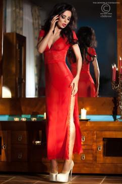 Длинное красное платье с разрезом на бедре Chilirose CR-3625