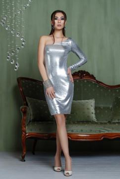 Гламурное серебристое платье на одно плечо A-Dress 70820