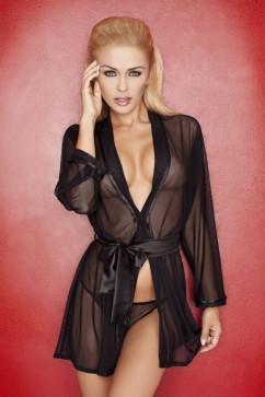 Прозрачный черный халат DKaren Aisha