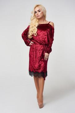 Платье LuxLook бархат с кружевом