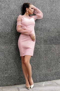 """Элегантное платье-футляр с сеткой """"Crimson"""" Daminika 11823"""