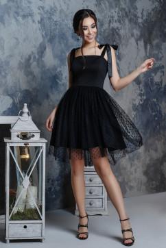 Черное платье с флоком в стиле барби A-Dress 70790