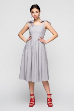 Светло-серый льняной сарафан с бантами A-Dress 70922