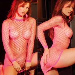 Розовое платье крупную сетку