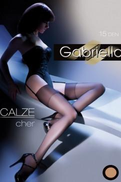 Бежевые чулки под пояс Gabriella Calze Cher 15 den