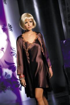 Скромная сатиновая сорочка Irall Roxane шоколадного цвета