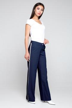 Льнные брюки с оригинальным лампасом A-Dress 30021