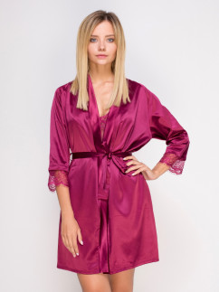 Малиновый кружевной халат Serenade 661