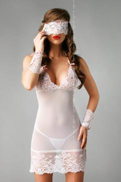 Прозрачная сорочка с маской и назапястниками Me Seduce Bianca chemise