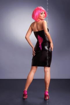Глянцевое платье с кричащей шнуровкой на спинке Me Seduce Xenia black