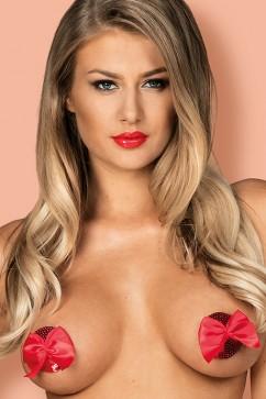 Наклейки на грудь с бантиками Obsessive Giftella nipple